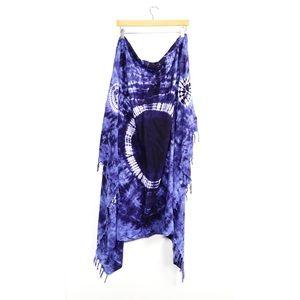 Large tie-dye print square scarf fringe boho beach